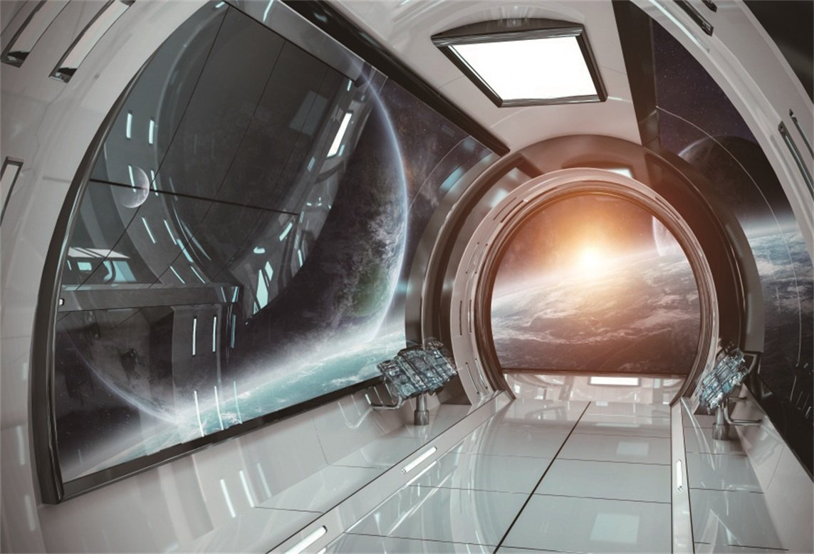 Aofoto 8x6ft spaceship spacecraft interior decoration background space station cabin photography backdrop kid boy girl artistic portrait astronomy universe