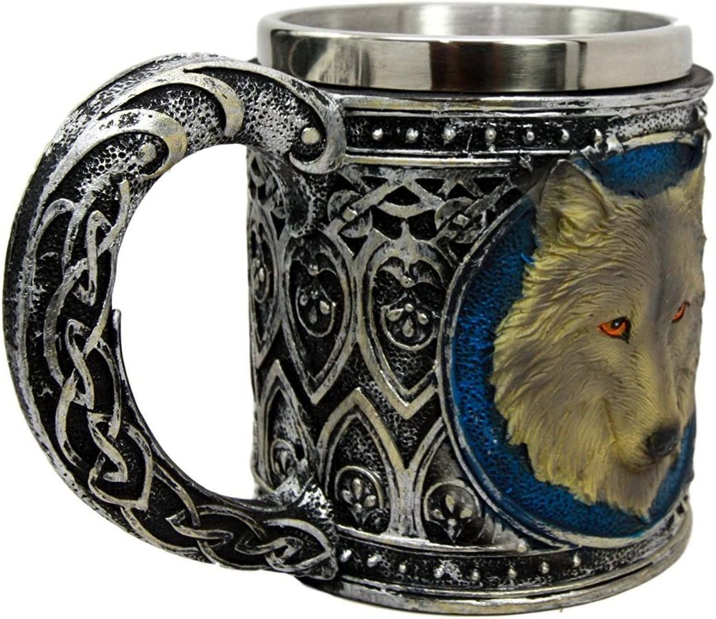 DingSheng Stainless Steel Rustproof Wolf Celtic Tribe Magic Resin Mug 13oz with Stainless Steel Trim
