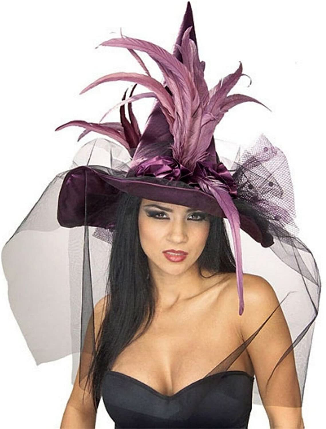 Purple Feather  Witch Hat