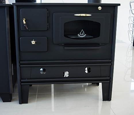 PROMETEY, stufa a legna da cucina con forno con vetro, 7 kW, piastra ...