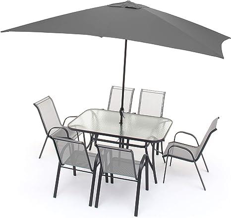 Set Pranzo Da Giardino 6 Posti Completo Di Ombrellone Set Tavolo E Sedie Per Esterni Arredo Giardino Amazon It Giardino E Giardinaggio