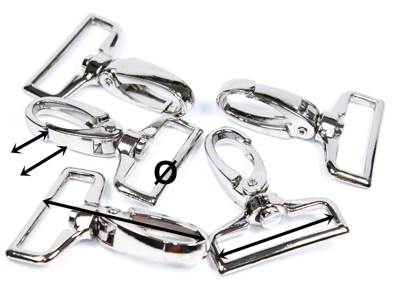 Karabinerhaken mit Drehwirbel 57x25mm Farbe Silber *verchromt* für 25 Gurtband