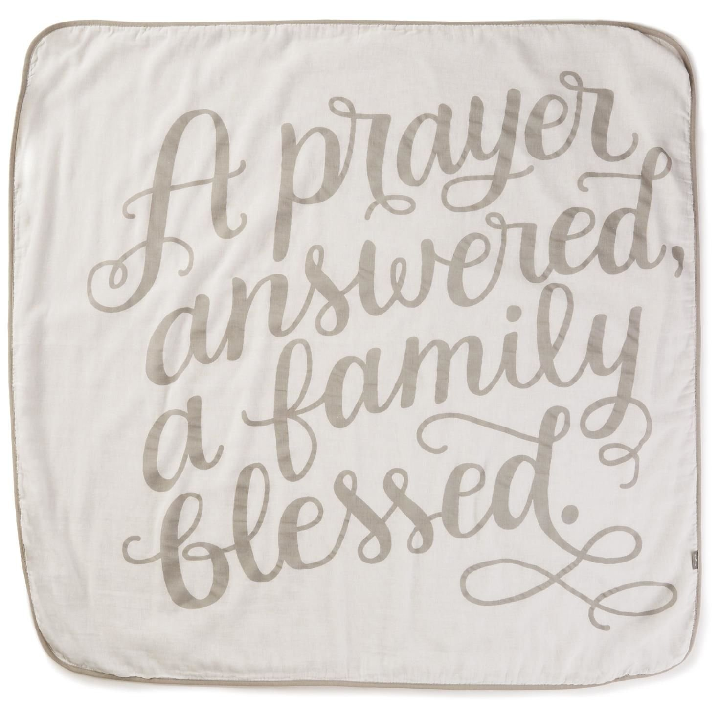 Hallmark A Prayer Answered White Muslin Baby Blanket