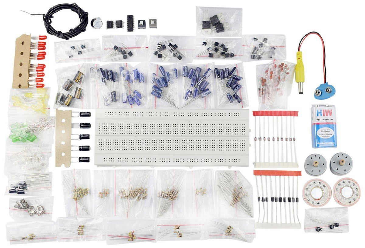 Generic Electronic Components Project Kit or Breadboard, Capacitor, Resistor, LED, Switch (Comes in a Box) product image
