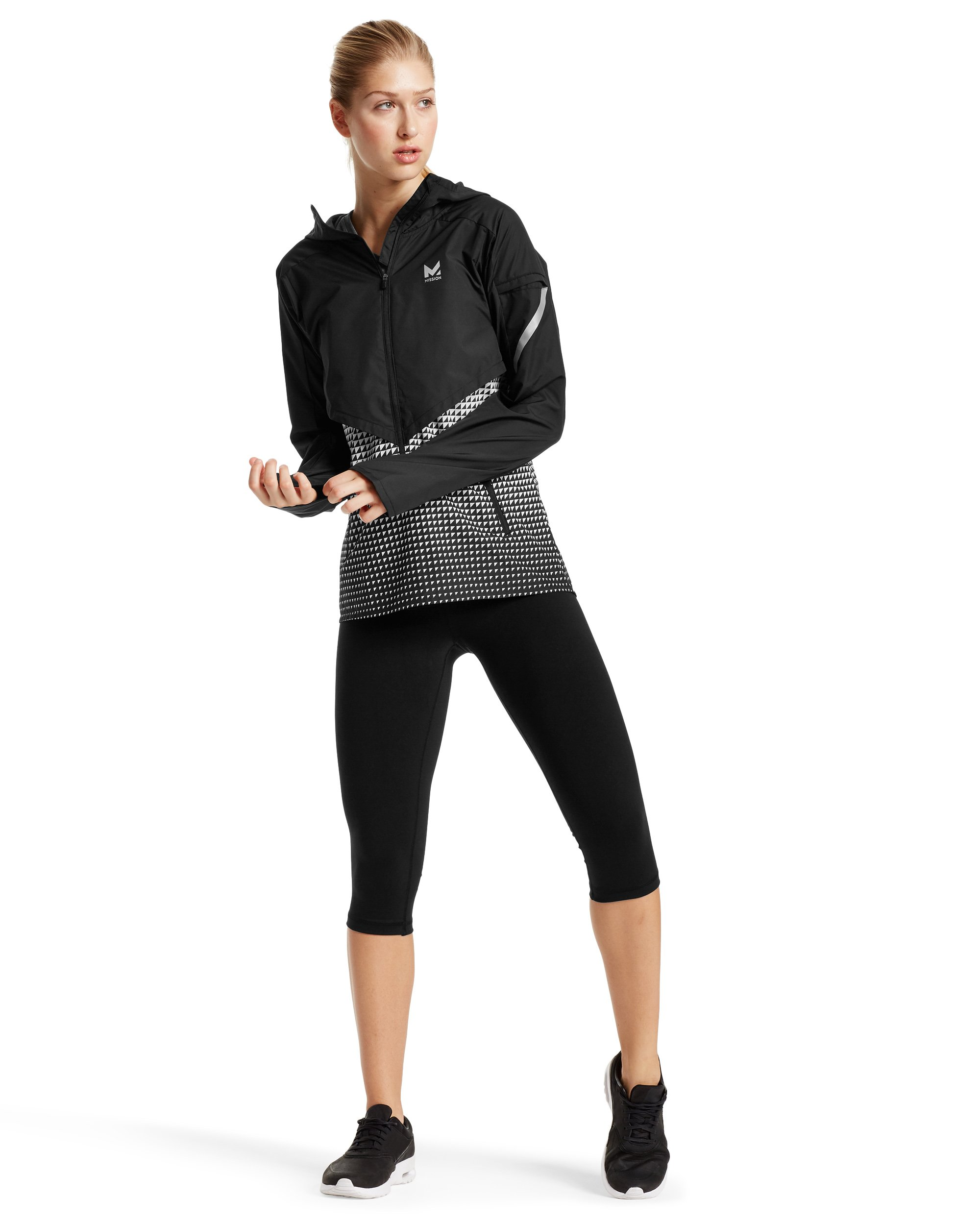 Mission Women's VaporActive Barometer Running Jacket, Moonless Night/Bright White Ombre, Medium by MISSION (Image #4)