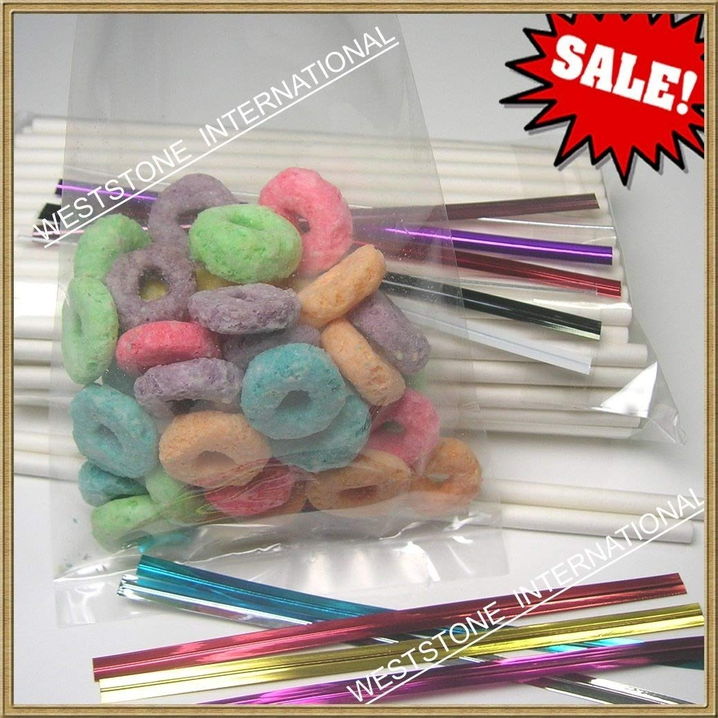 200pcs (4 1/2'' Lollipop Sticks + 3'' X 4'' Bags + Twist Ties) for Cake Pops