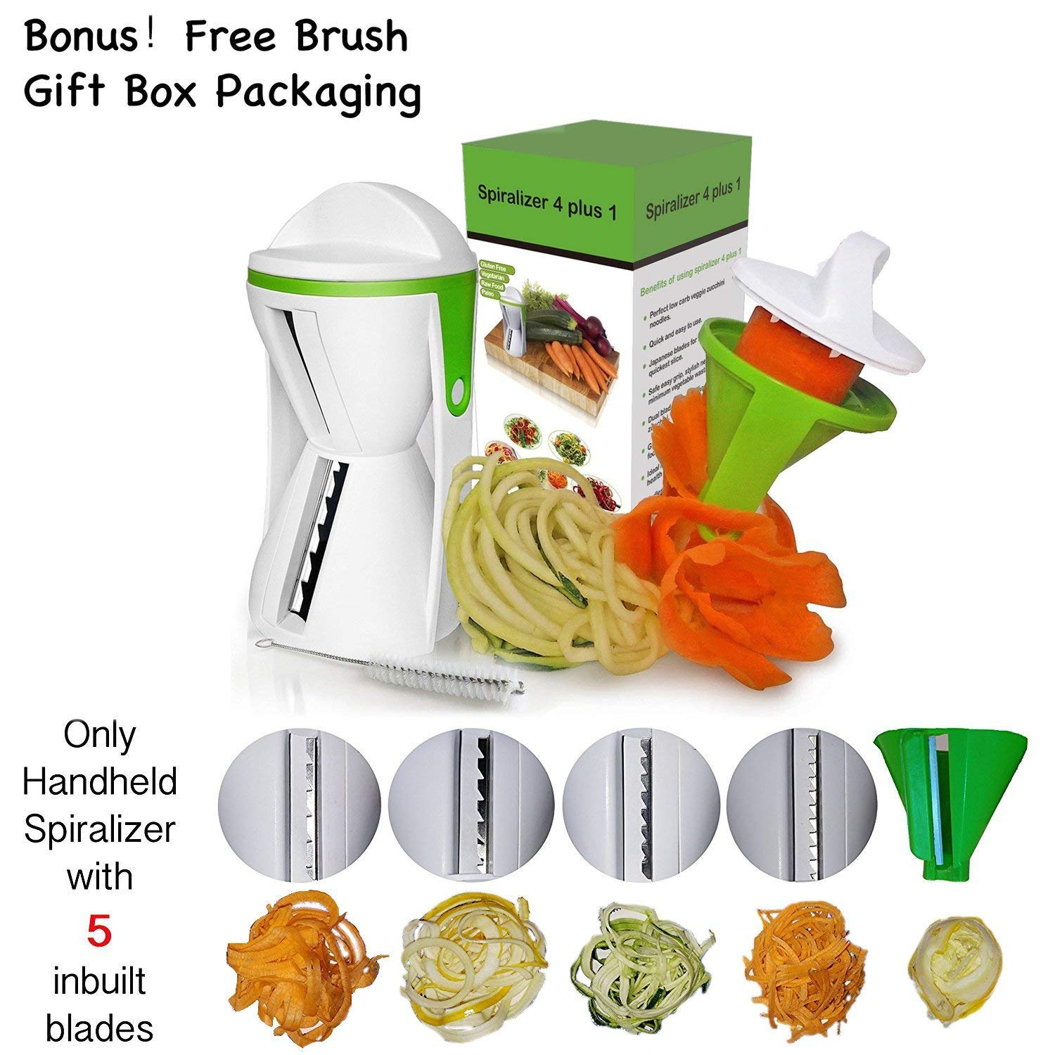 Otdair NEW DESIGN Spiralizer - 5 Blade Spiral Slicer -Handheld Vegetable Spiralizer - FREE brush - Zucchini Noodle Maker - Vegetable Cutter-Spiralizer 4 Plus 1
