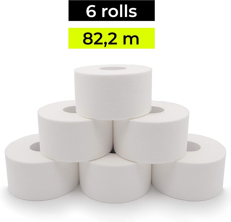 KALAHARI 6 x Tape Deportivo Blanco - 3.8cm x 13.7m - Cinta Adhesiva con Borde Serrado, 100% Algodón: Amazon.es: Deportes y aire libre
