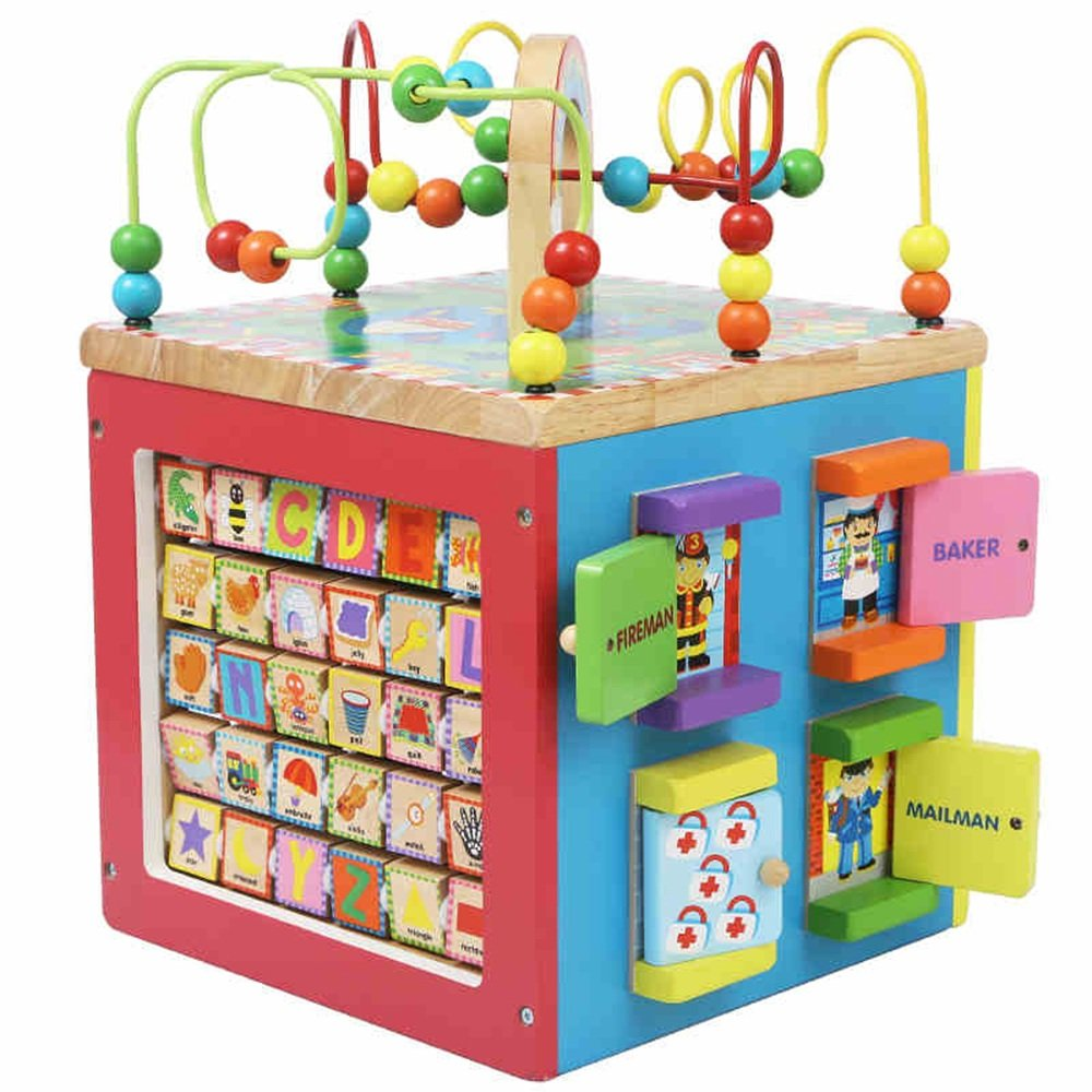 MEIDUO toys Children's Multi-purpose Educational Toys Rotating Around The Treasure Box Baby Puzzle Beads, Wooden Multi-function Around The Beads