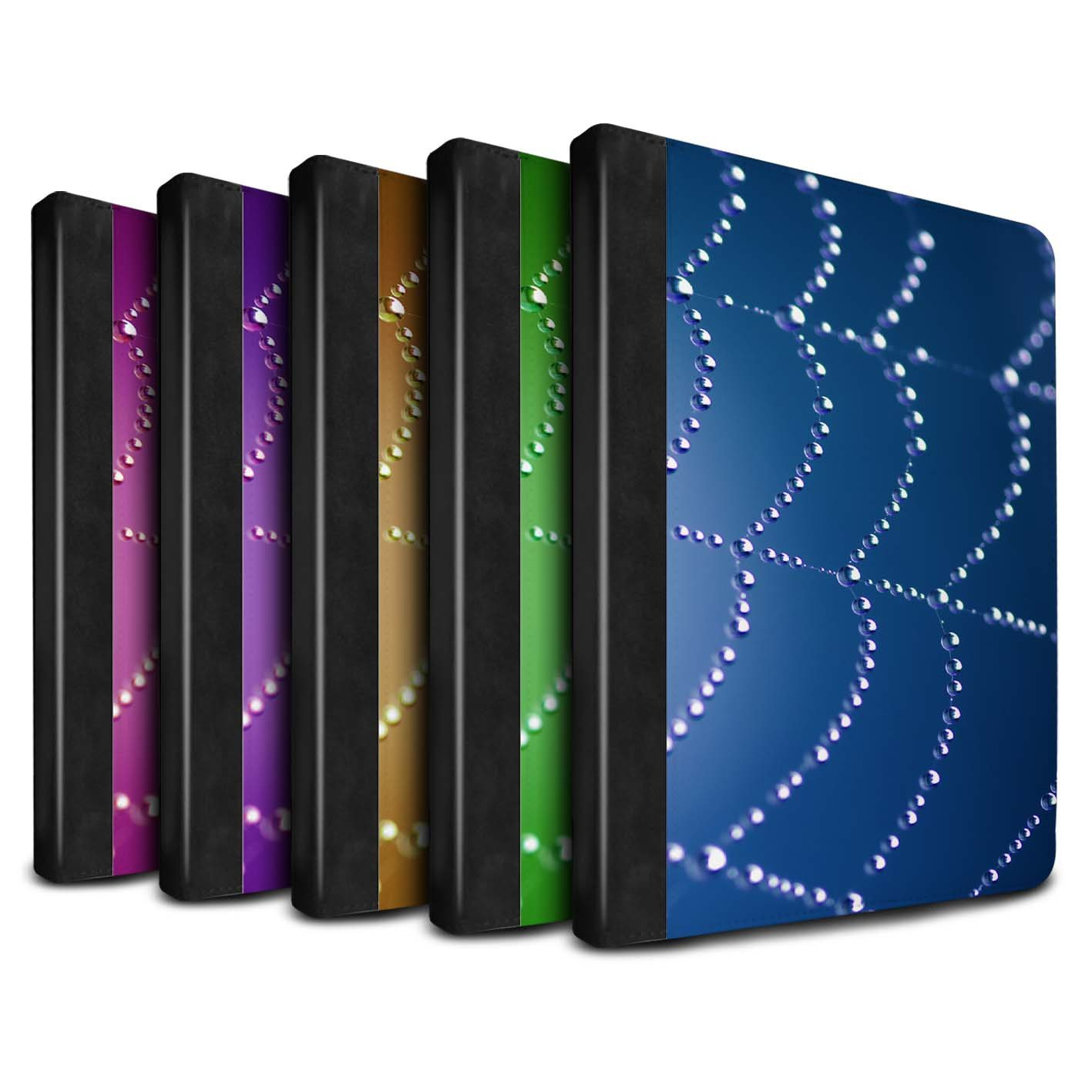 STUFF4 PU Leather Book/Cover Case for Apple iPad 9.7 (2017) tablets / Pack (7 pk) Design / Spider Web Pearls Collection