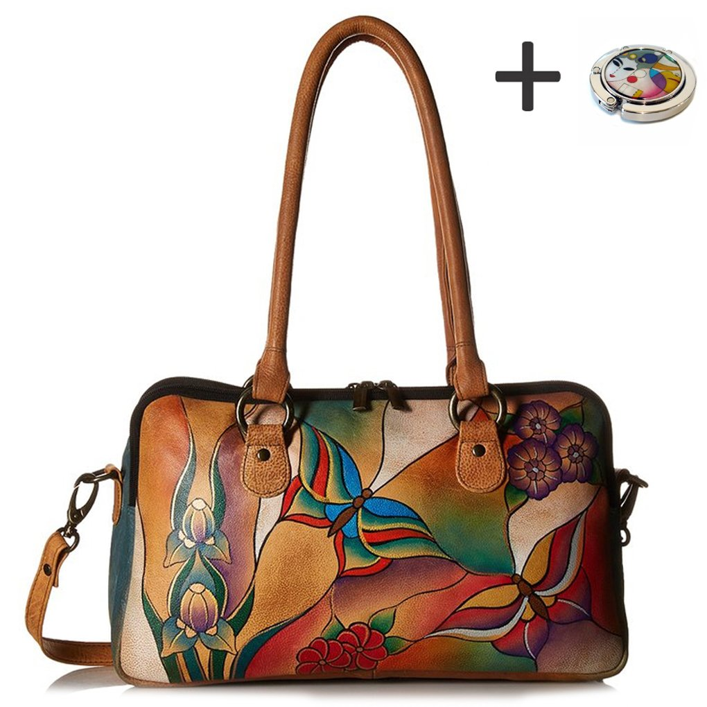 Anna By Anuschka Satchel Handbag & Purse Holder (MultiComp. Butterfly Glass Painting) by ANUSCHKA