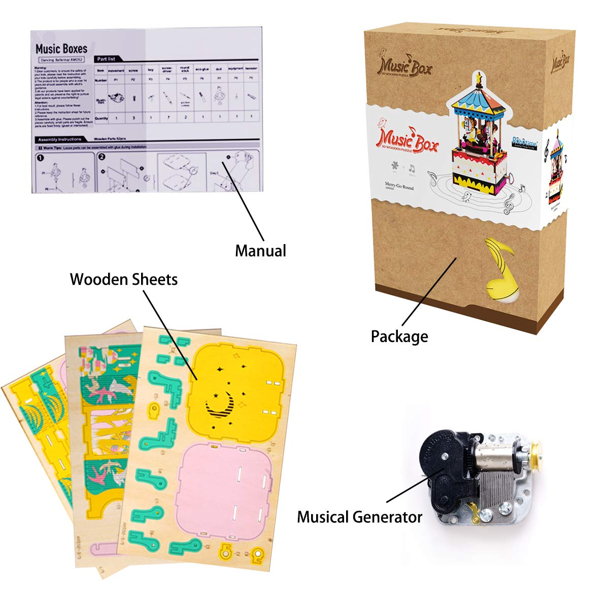 Rolife Hand Crank Music Box Machinarium-DIY Wood Craft Kit-3d Wooden Puzzle-Creative Gift for Boys and Girls When Christmas/Birthday/Valentine's Day (Midsummer Night's Dream)