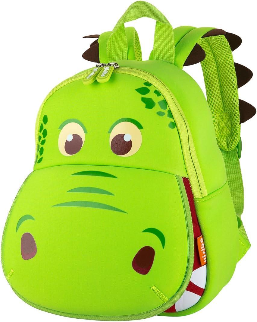 yisibo Mochilas para Niños Kindergarten Preescolar para Niños Pequeños/Niñas Mochila 3D Bolsa De Animales Mochilas para Niños Linda Mochila De Guardería 2-6 Años(Boca Grande Dinosaurio-Verde)