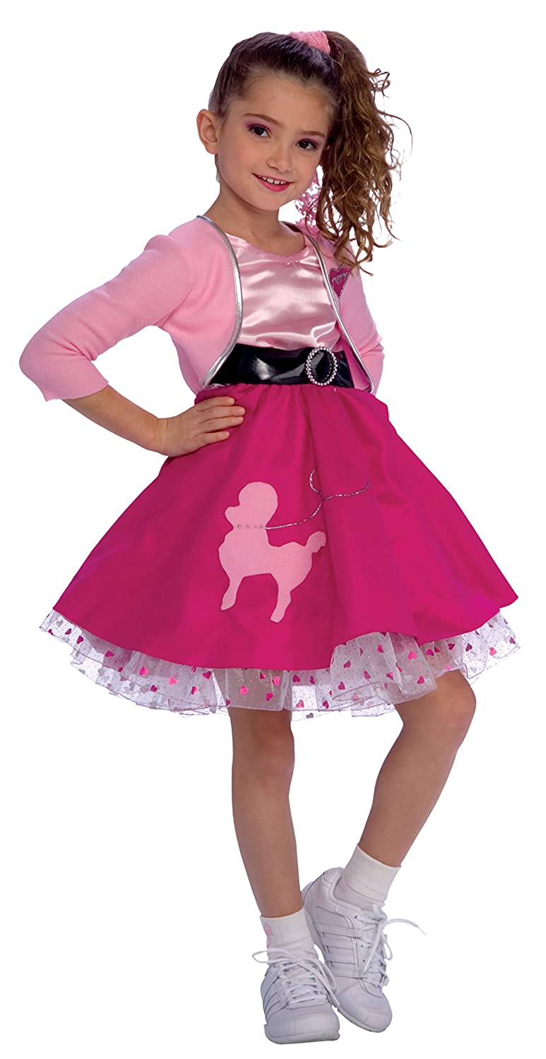 Childrens Pink Poodle Fancy Dress Costume 1950s Rock N Roll Childs Outfit L