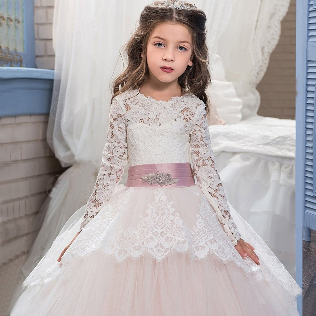 Banfvting Lace Long Sleeves First Communication Dress Kids Birthday Gown With Sash by Banfvting (Image #3)