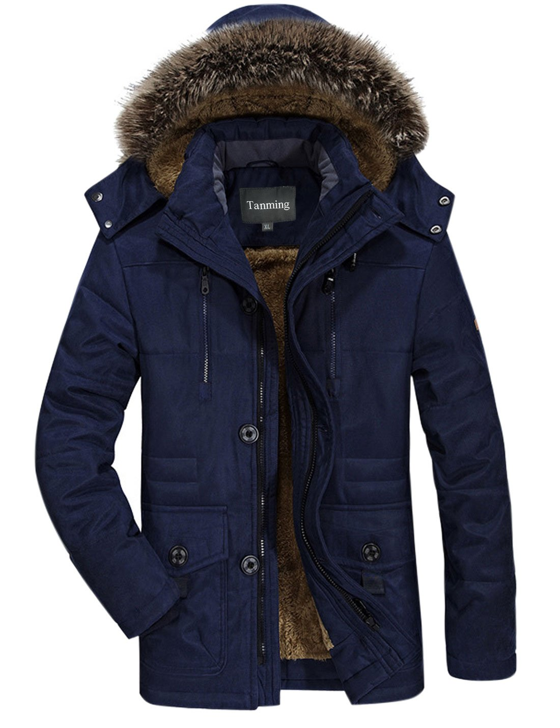 Tanming Men's Winter Warm Faux Fur Lined Coat with Detachable Hood (Small, Blue) by Tanming