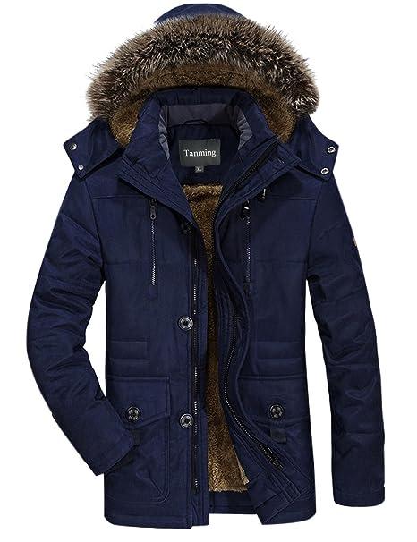 Tanming chamarra de invierno para hombre con capucha desmontable piel  sintética azul jpg 466x606 Imagenes de 0d84f8c0382f
