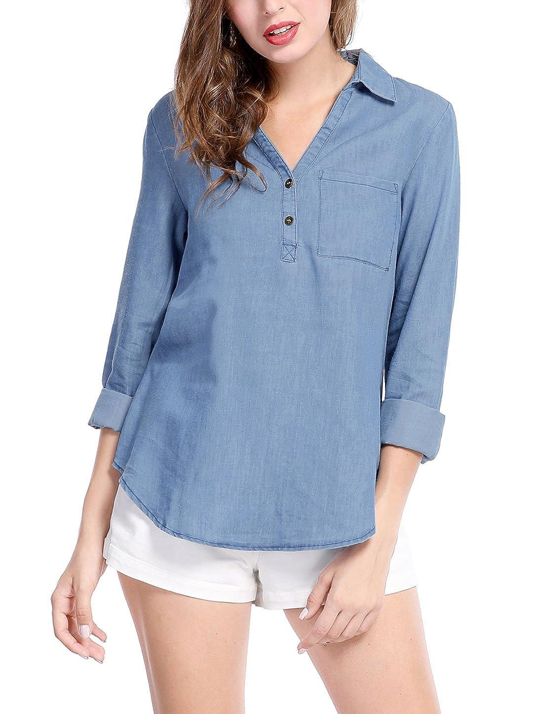 ebf5e946d69d23 Allegra K Women's V Neck Turn Down Collar Shirt Top Half Placket Chest  Pocket Blouse at Amazon Women's Clothing store: