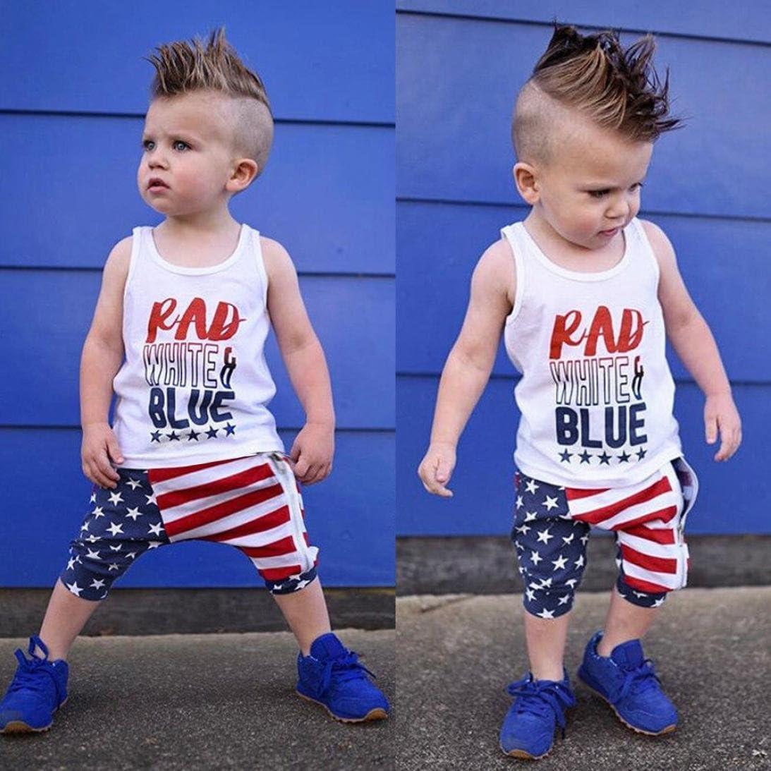 Efaster Baby Boy Girl Clothes Letter Print Vest+Star Stripes Pants Outfits Set