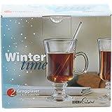 "2 tlg. Grogset ""Wintertime"", Bohemia - Glas: 2 Groggläser und 2 Rüherstäbchen, Glasinhalt: 200 ml"