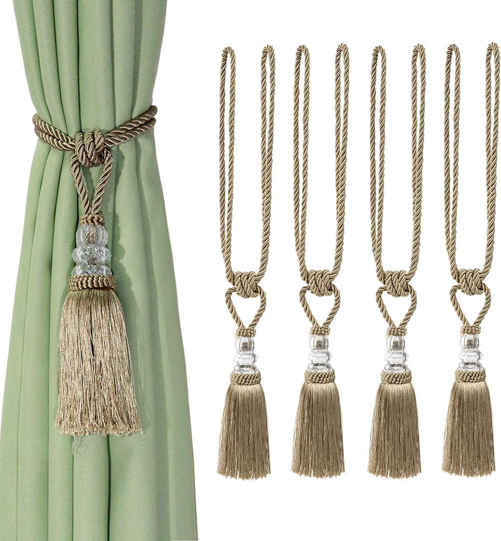 Fenghuangwu 4Pcs Tassel Curtain Tiebacks Handmade, Elegant Crystal Curtain Holdbacks for Home Office Decor-Golden