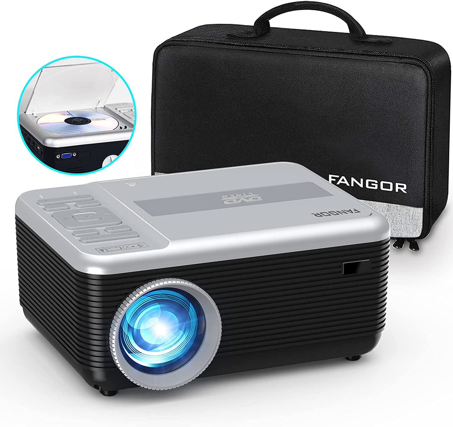 Mini Projector, FANGOR Portable Projector Built in DVD Player, 1080P Support Bluetooth Projector 720P Native, 6000L Video Movie Projector 200