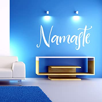 Extra Large Yoga Wall Decal | Big Namaste Wall Sticker | Huge Lettering (2 ft x 4 ft) | Yoga Studio or Home Gym Decoration Big Wall Art Quote (White)