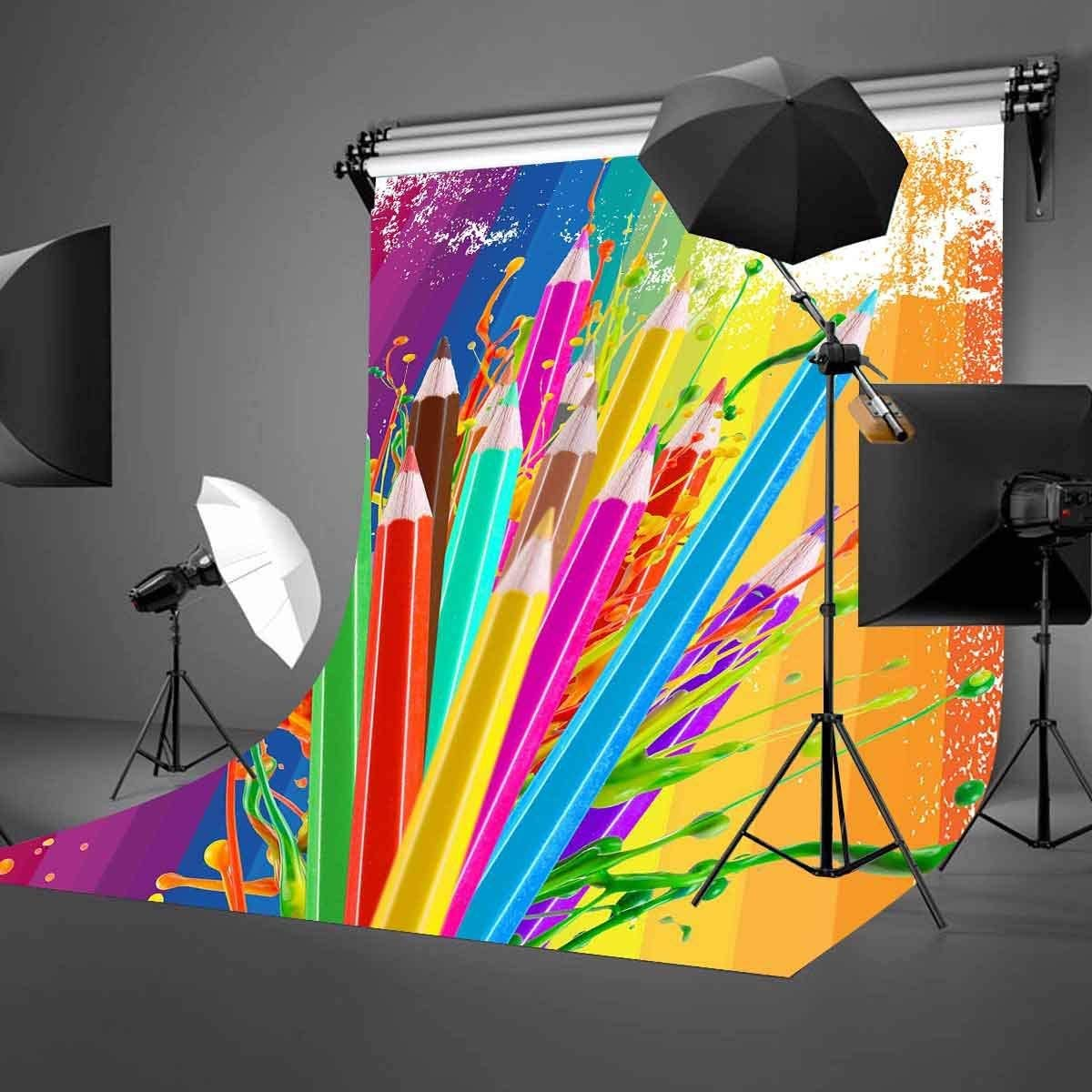 GoHeBe 5X7ft Color Pencils Backdrop Color Pencils and Paint Creative Art Photography Backdrop Photo Studio Background Props LYNAN427
