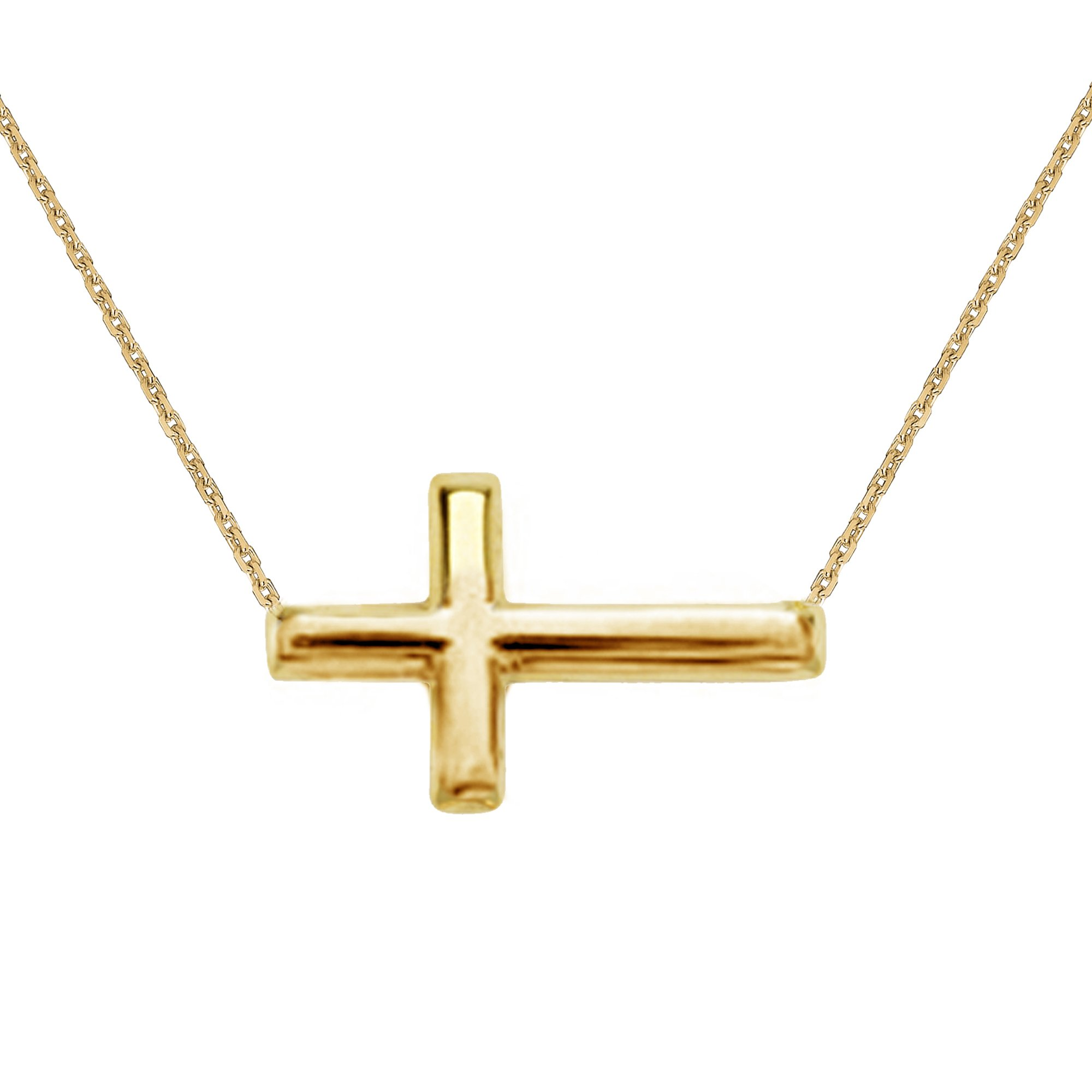 14K Yellow Gold Sideways Cross Necklace Adjustable Chain 16-18 Inches