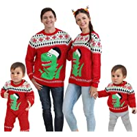 SVTEOKO Family Matching Outfits, Ugly Christmas Sweater for Men Women Baby Dinosaur Knitted Pullover