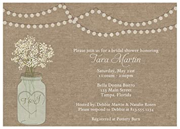 Burlap Bridal Shower Invitations Mason Jar Rustic Wedding Party Invites Country Barn Chic Baby S Breath Flowers Tea Lights Hipster Personalized
