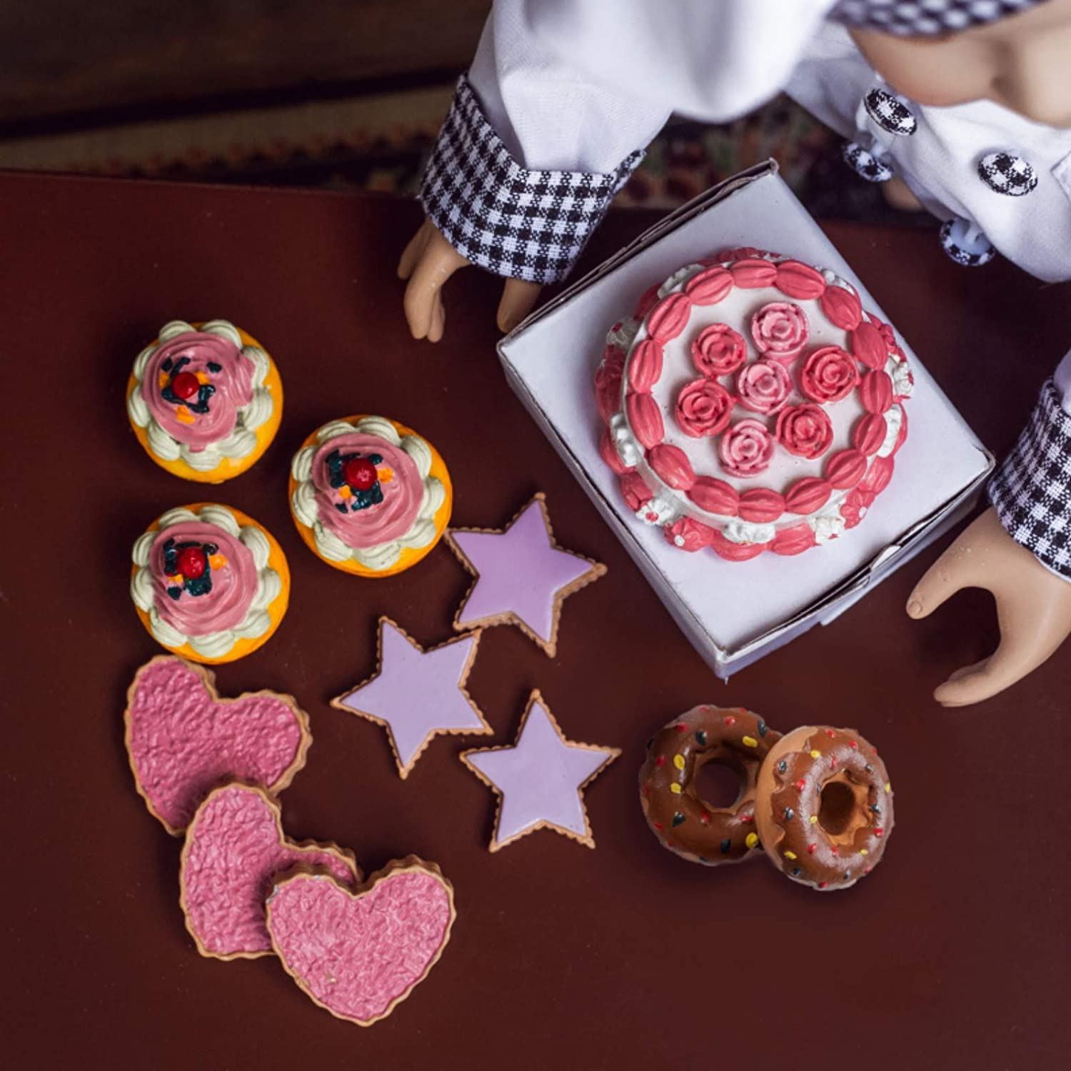 The Queen's Treasures American Bakery Collection Party Set Includes Cookies, Cupcakes, Doughnuts, and a Party Cake. Food Accessories Designed to be Compatible with 18 Inch Girl Dolls.