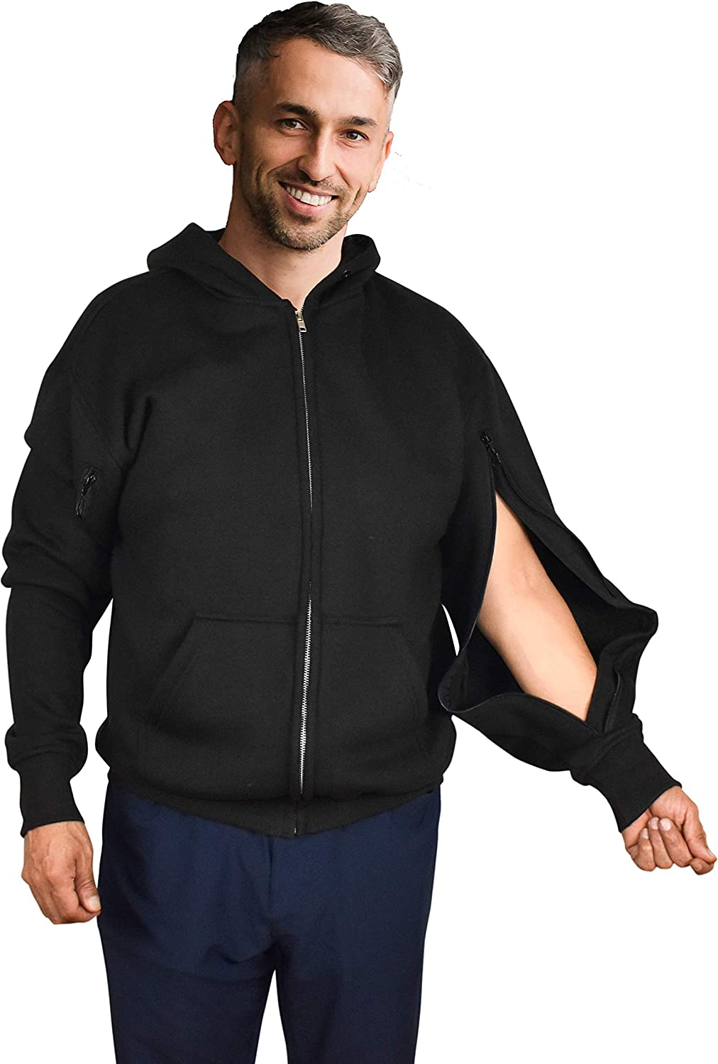 Inspired Comforts Dialysis Port Access Pullover Hoodie with Two Way Arm Zips