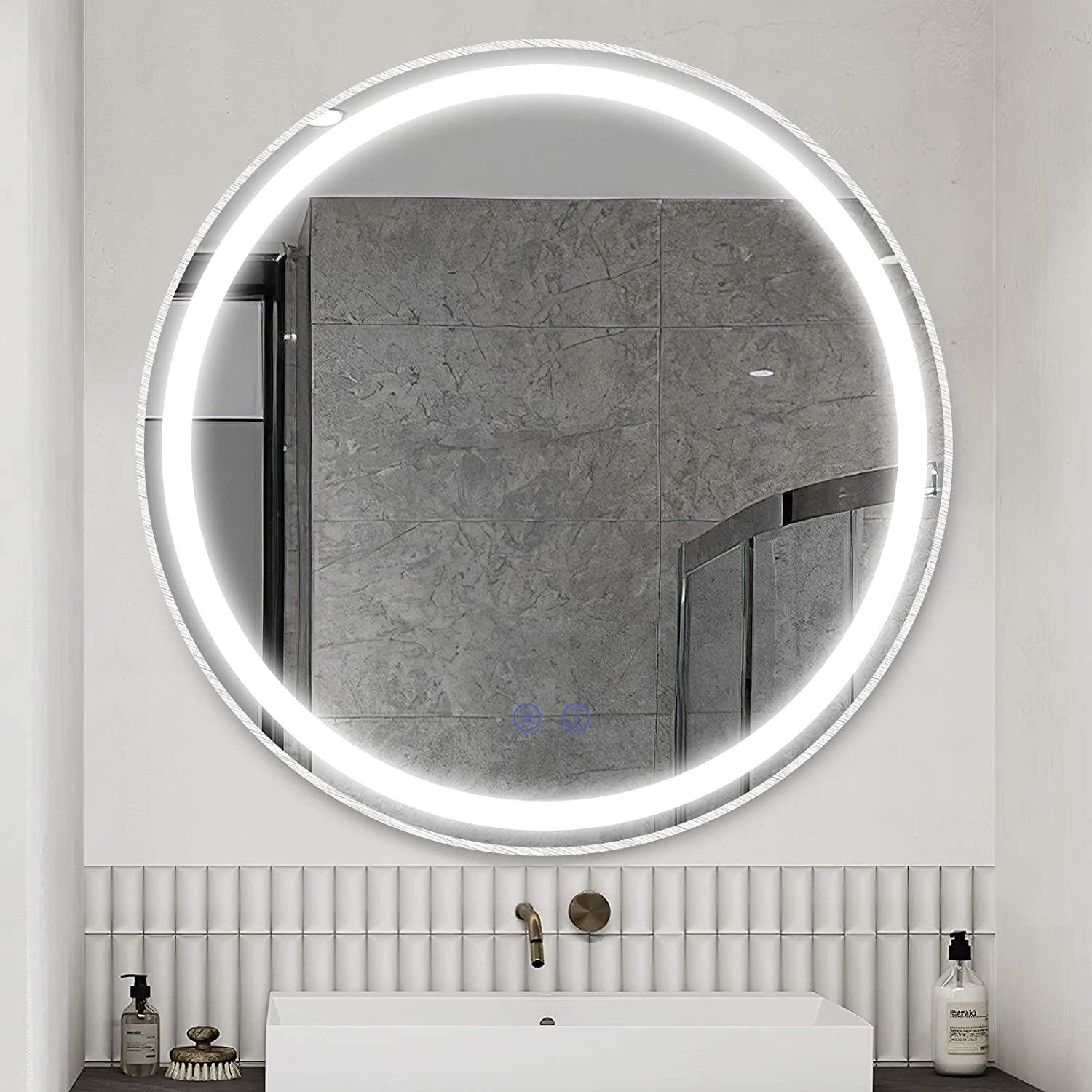 Amazon Com Citymoda 32inch Large Round Led Lighted Mirror Bathroom Wall Mounted Vanity Mirror Brushed Aluminum Frame Mirror With Light Dimmable Memory Touch Button Waterproof Anti Fog 3 Color Tones
