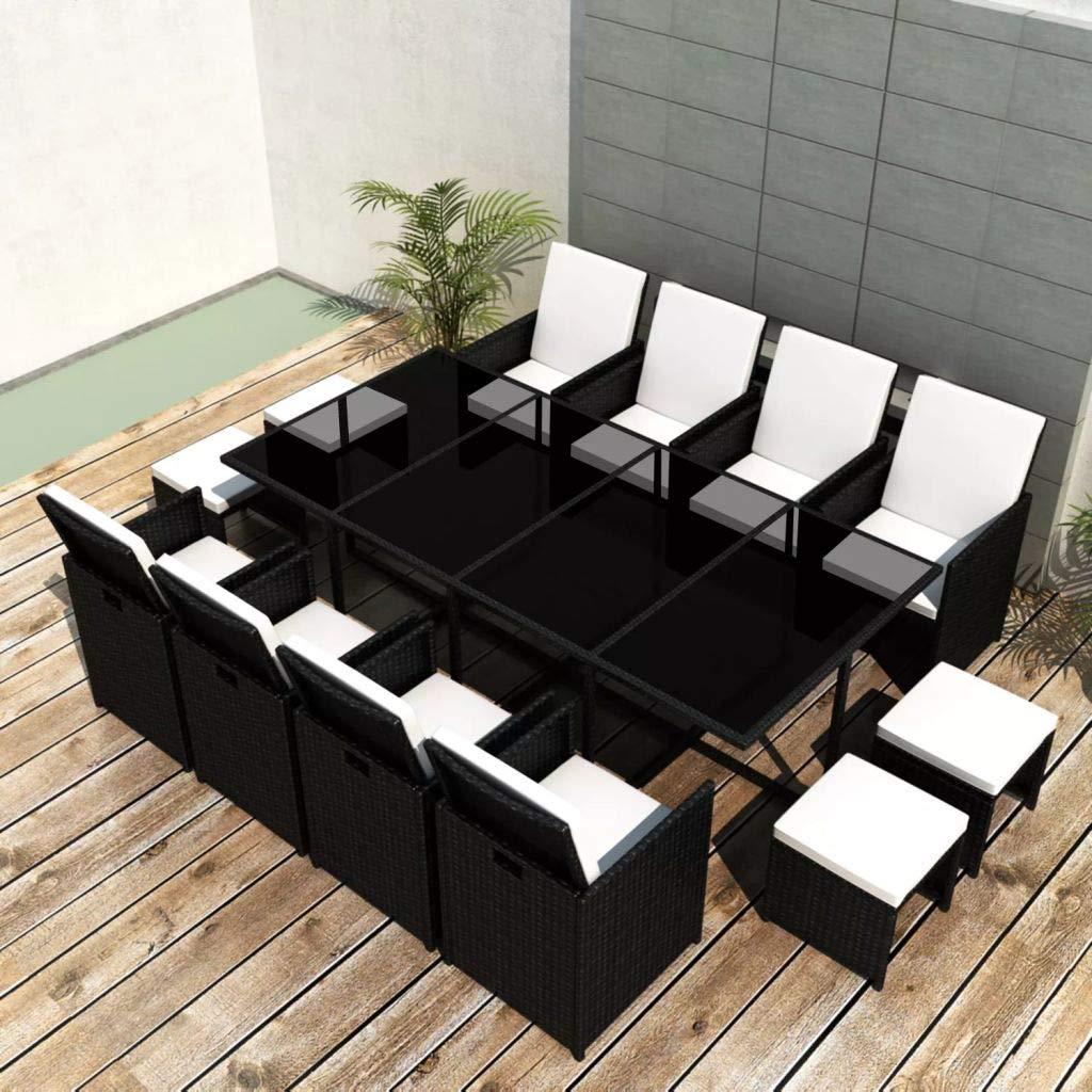 SHENGFENG Gartenmöbel-Set, 33-teilig, Tisch: Rattan PE + Stahl + Glas, Außenmaße 225 x 109 x 74 cm