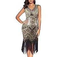 Flapper vestidos de mujer de los años 20 con cuello en V con cuentas de flecos Great Gatsby Dress