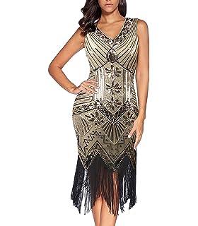 8590d358a FeelinGirl 1920s Vintage Fleco Encaje Vestido de Fiesta para Mujer ...