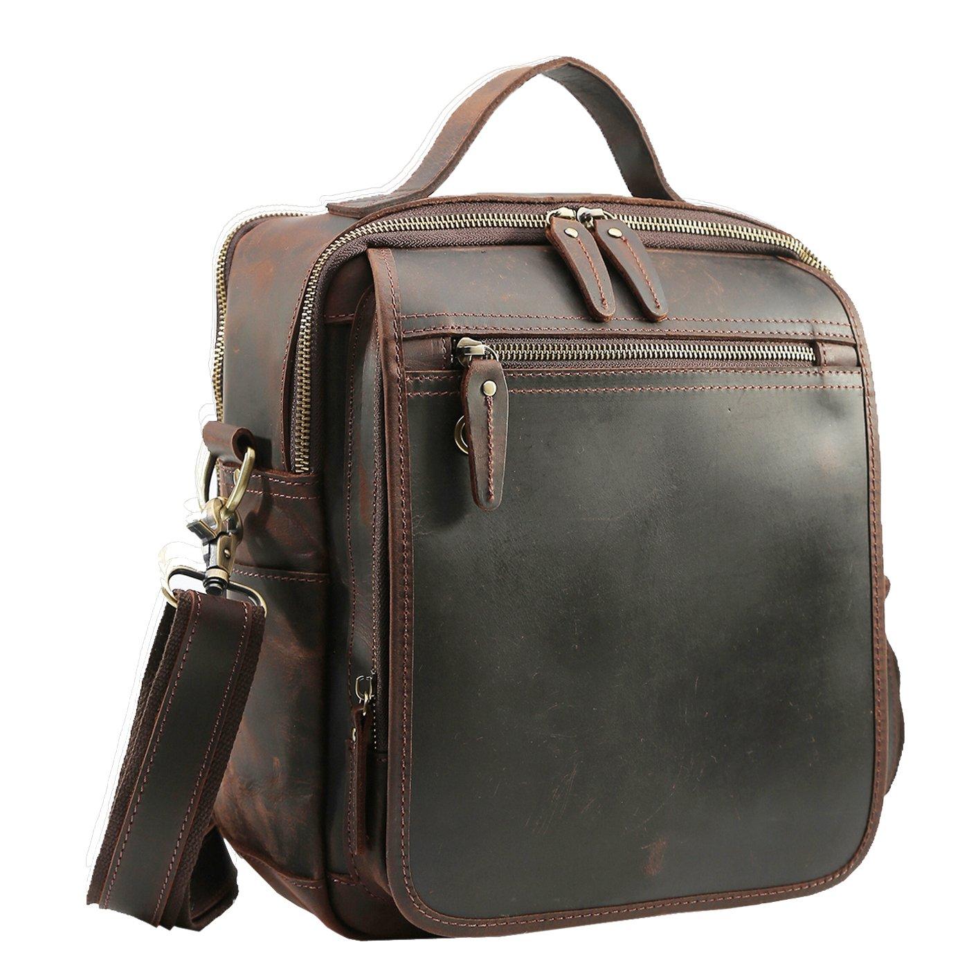 Polare Men's Full Grain Leather Shoulder Bag Messenger Bag Travel Bag Business Bag Working Bag Satchel