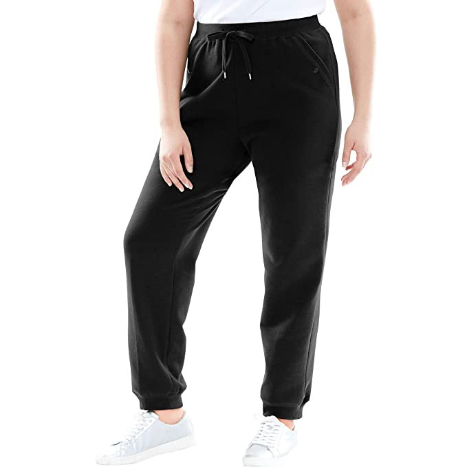 Woman Within Women's Plus Size Petite Better Fleece Jogger Sweatpant - Black, S