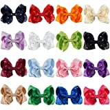 CN Baby Girls Rhinstone Hair Bows 4inch Grosgrain Ribbon Alligator Clips For Teens Babies Toddlers Children Pack Of 16