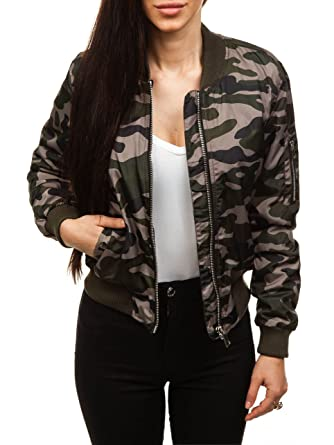 BOLF Damen Übergangsjacke mit Reißverschluss Jacke mit Stehkragen Camo Army  Sport Style Motiv FEIFA Fashion 6331 4da11cf8b4