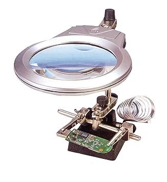 Lupa articulada con LED para trabajos modelismo, con soporte para soldador desmontable: Amazon.es: Juguetes y juegos