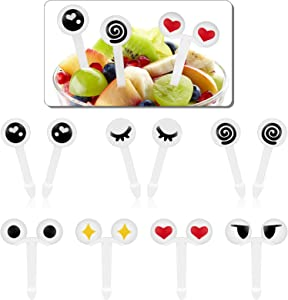 Boao 60 Pieces Eye Food Toothpicks Cartoon Eye Fruit Forks Eye Cupcake Picks Tableware for Lunch Party Decoration