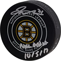 """$79 » Jake DeBrusk Boston Bruins Autographed Official Game Puck with""""NHL Debut 10/5/17"""" Inscription - Fanatics Authentic Certified"""
