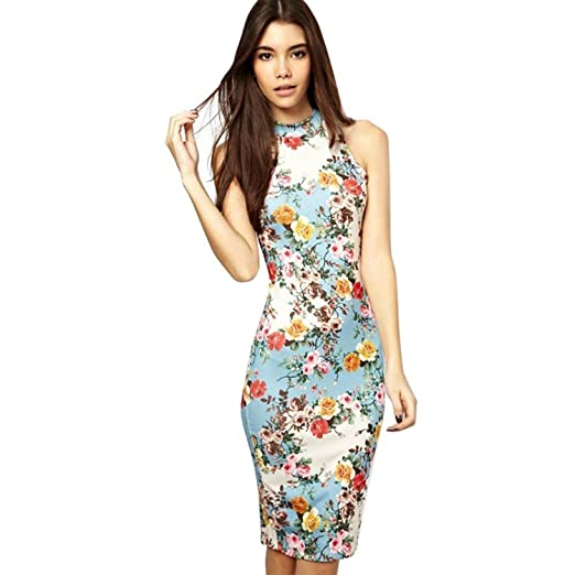 227a294e7286 Summer Floral Printed Sleeveless Slim Fit Midi Sheath Tank Sun Dress  (X-Large, Blue) at Amazon Women's Clothing store: