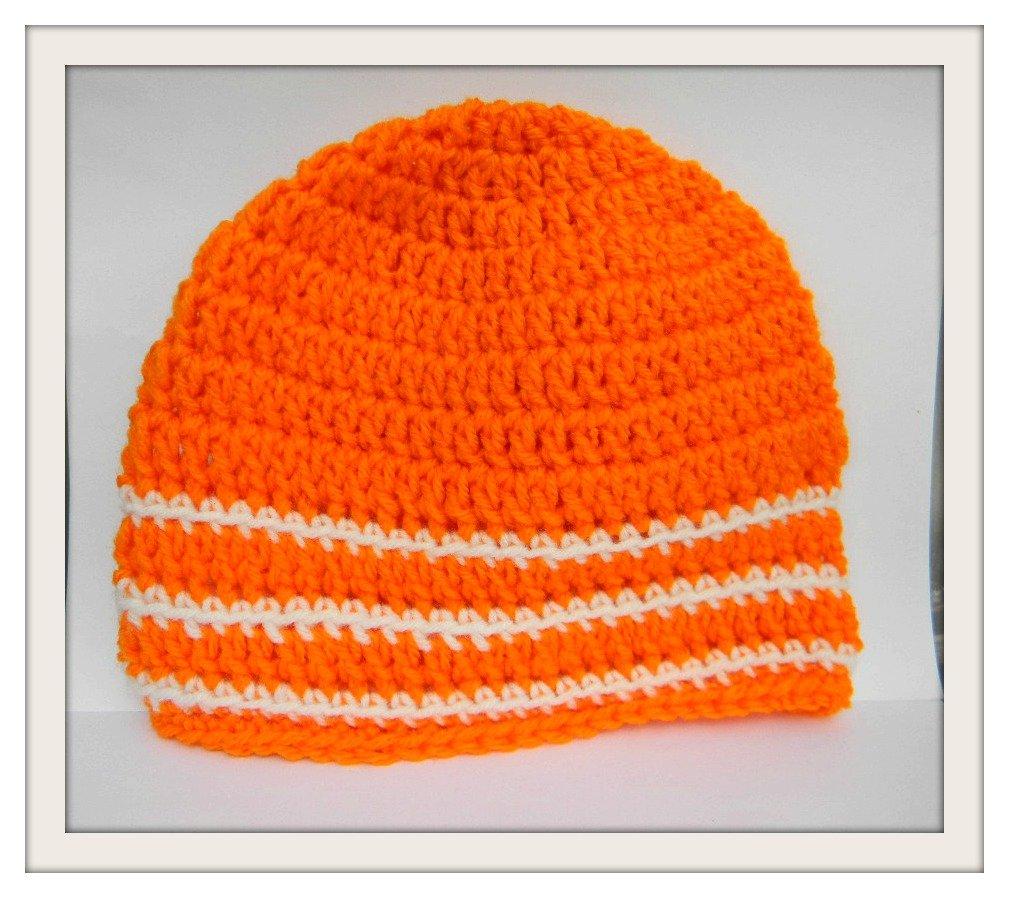 Amazon Crochet Skull Cap Orange Beanie Boho Hat Handmade