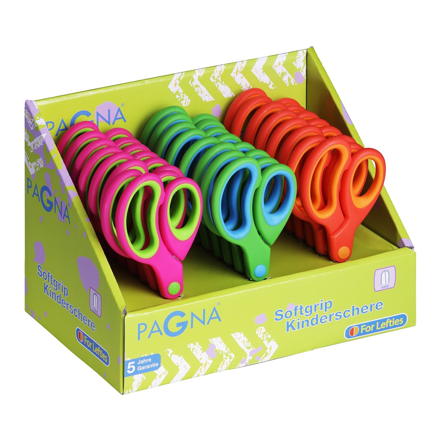 Pagna 99215Set 00Children's Scissors Soft Grip Round Assorted Set of 24(Craft Scissors for Right or Left Handed)