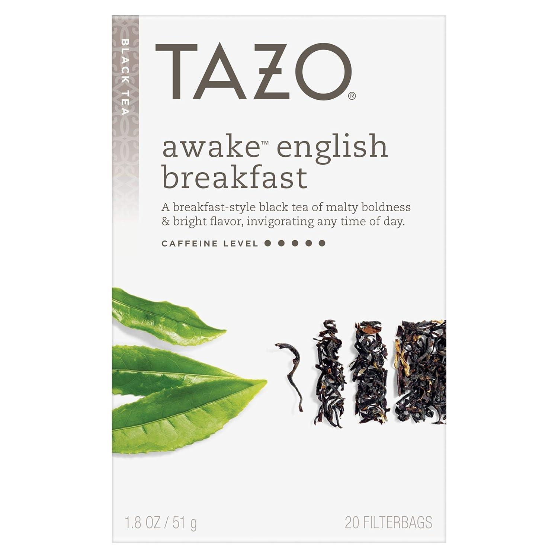 Tazo Awake English Breakfast Tea Bags For a Bold Traditional Breakfast-Style Tea Black Tea Highly Caffeinated Tea 20 Tea Bags 6Ct