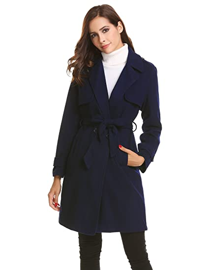 new product 6ddcb c567a Chigant Damen Langer Warmer Wintermantel Trenchcoat Mantel mit Gürtel