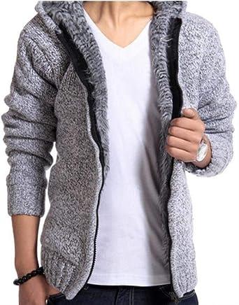 5efe3ac80d8 FashionRun Men's Winter Faux Fur Lined Knitwear Thick Zip Up Fleece ...
